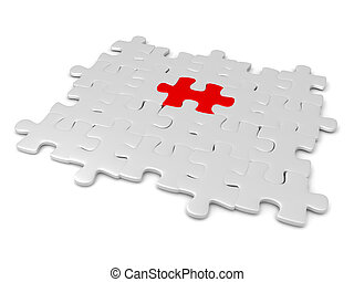 3D illustration of grey jigsaw puzzle pieces with a red one in the middle
