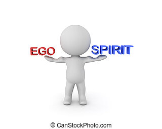3D Character balacing ego and spirit. Image can be used when...