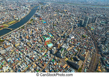 Tokyo skyline and Sumida River - Aerial View of Tokyo...