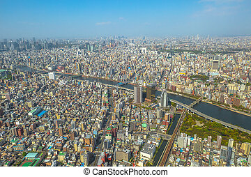 Tokyo skyline and Sumida River - Aerial view of Tokyo city...