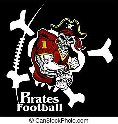 pirates football team design with large skull for school,...