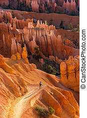Photographer taking a photo of rock formations in Zion...