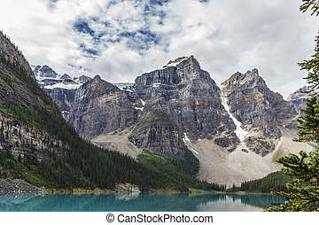 Lake mountains trees landscape at Lake Moraine, Canada with...