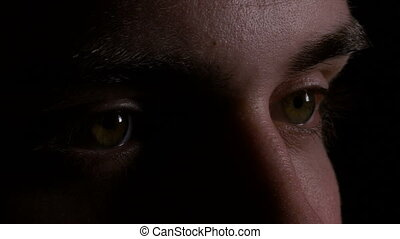 Close up macro of young man eyes looking and searching in...