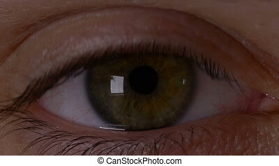 Macro view of man eye opening in slow motion and feeling...