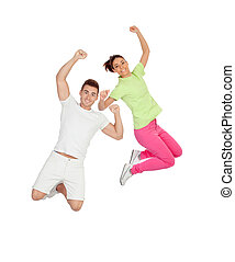 Couple jumping isolated on a white background