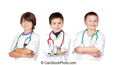 Three small doctors isolated on a white background