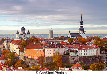 Tallinn. Estonia. Old city. - Tallinn, Estonia. View of the...