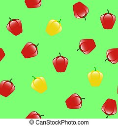 Fresh Red Yellow Seamless Pattern on Green Background
