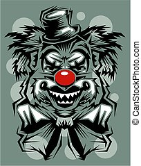 serial killer clown - crazy serial killer clown with red...