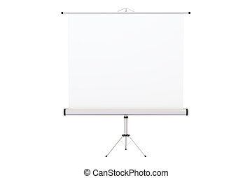 Blank Projection Screen, 3D rendering isolated on white...