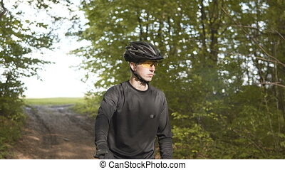 Portrait of Bicycle Rider - Portrait of young sports man...
