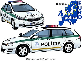 Slovakia Police Car - Colored Illustration from Series...