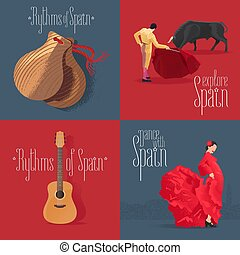 Set of vector illustrations with Spanish symbols: flamenco dancer, Spanish guitar, bull fighter