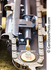 Agriculture machinery, chain in big agricultural machine