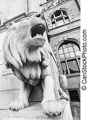 Stone lion in Hanover - Angle shot fo stone lion near city...