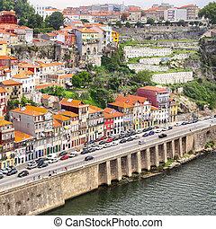 Vila Nova de Gaia on south bank of Douro river in Porto,...