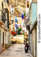 Old street in Alicante - Old uphill street in Alicante town,...