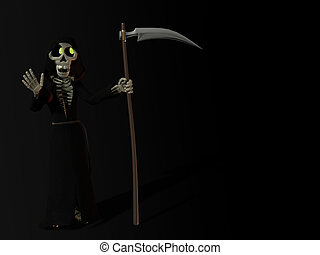 Smiling cartoon skeleton as the grim reaper. - A smiling...