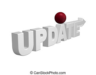 update - the word update with arrow and red sphere - 3d...