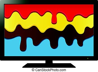 TV with paint on screen. Abstract vector illustration.