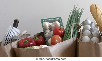 Paper bags with fresh food - Groceries paper bags filled...
