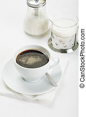 Coffee with sugar and milk - White cup of espresso coffee...