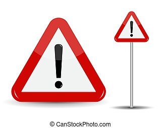 Warning Road Sign Red Triangle with Exclamation Point. Vector I