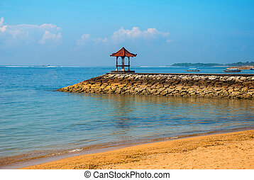 Beautiful gazebo pavilion on the beach Benoa. Bali,...