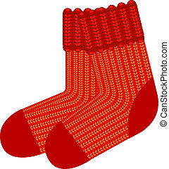 Red knit wool socks Vector over white EPS 8, AI, JPEG