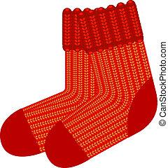 rojo, tejer, lana, calcetines