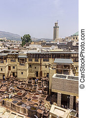 Fes el Bali city skyline and terrace view of the dye pots at...