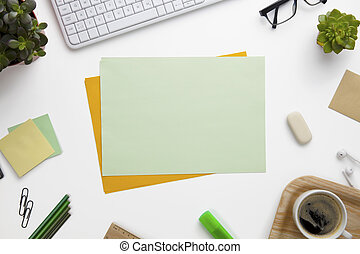 Blank Documents Surrounded With Office Supplies On White...