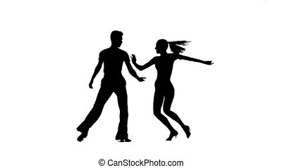 Dance element from rumba, silhouette pair. White background,...