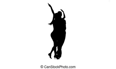Rumba perform silhouette couple professional dancers. White...