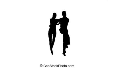 Samba perform silhouette couple professional dancers. White...
