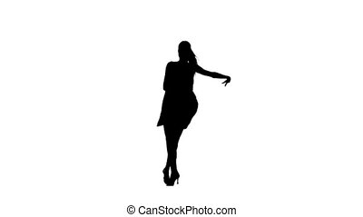 Silhouette of girl performing ballroom dance. White...