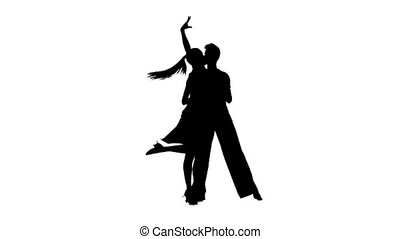 Couple silhouette professional dancing rumba on white background. Slow motion