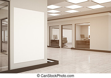 Modern office with empty poster