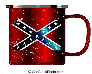 Rebel Tin Cup - A typical red coloured tin cup with white...