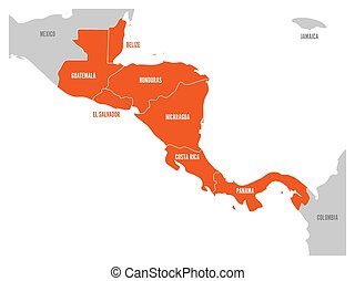 Map of Central America region with red highlighted central american states. Country name labels. Simple flat vector illustration