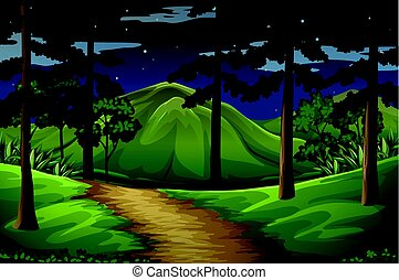 Forest scene with trail to the mountain illustration