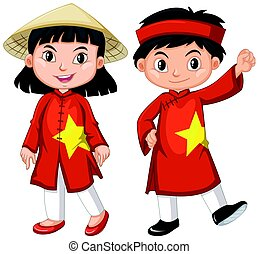 Vietnamese boy and girl in red costume illustration
