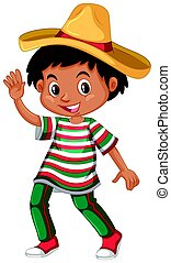 Mexican boy in traditional outfit illustration