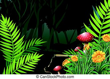 Night time in the forest illustration