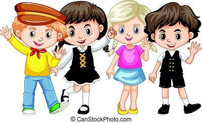 vier, winkende, Kinder, Hände
