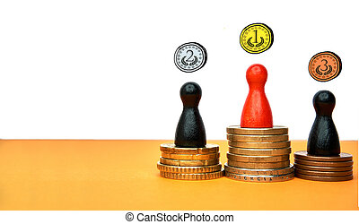 Colorful game figures symbolize a winners podium with money - with copy space and drawn medals. Concept for sport or business.
