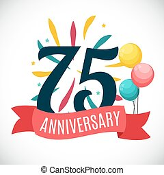 Anniversary 75 Years Template with Ribbon Vector...