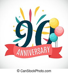 Anniversary 90 Years Template with Ribbon Vector...