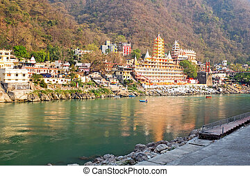 The holy river Ganges in India near Laxman Jhula in India